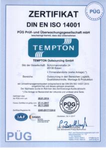 Zertifikat DIN EN-ISO-14001