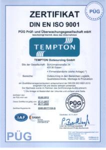 Zertifikat DIN-EN-ISO-9001 Outsourcing