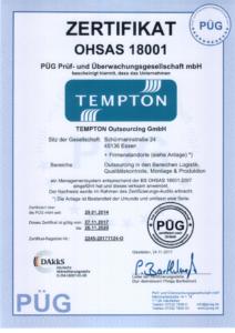 Zertifikat OHSAS 18001