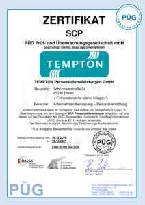Zertifikat SCP Alle Standorte